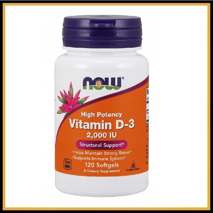 Now Foods, Витамин D-3, высокоактивный, 2000 IU, 120 таблеток