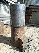 """Банная печь """"Круглая 420"""" диаметр с нержавеющим баком"""