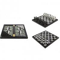 Настольный набор Шахматы Шашки Нарды 3 в 1 из камня мрамор змеевик
