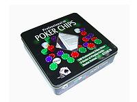 Набор для покера 100 фишек, 2 колоды карт по 54 шт. , металлическая коробка