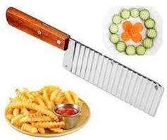 "Нож ""волна"" для нарезки картофеля на фри и овощей, с рукояткой деревянной"