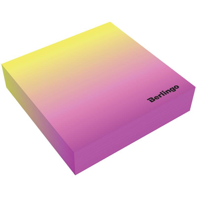 """Блок для записи декоративный на склейке Berlingo """"Radiance"""" 8,5*8,5*2, розовый/желтый, 200л."""
