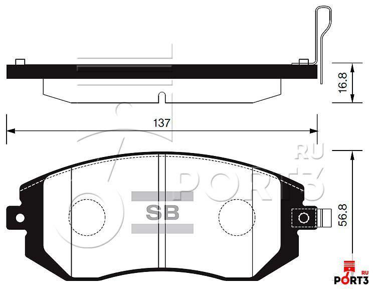 Колодки передние Subaru Forester SG/SH >02, Impreza >00, Legacy 03-10, Outback 2.0-3.0 >00