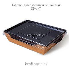 Контейнер, салатник с прозрачной крышкой Black Edition  1000мл 200*140*55 DoEco (50/150)