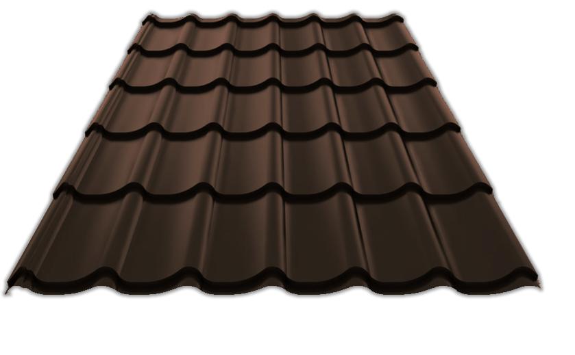 Металлочерепица СуперМонтеррей 0,45 матовый 8019 Тёмно-коричневый 4265 тг/м2 при заказе свыше 100 м2