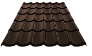 Металлочерепица СуперМонтеррей 0,45 матовый 8019 Тёмно-коричневый 3805 тг/м2 при заказе свыше 100 м2