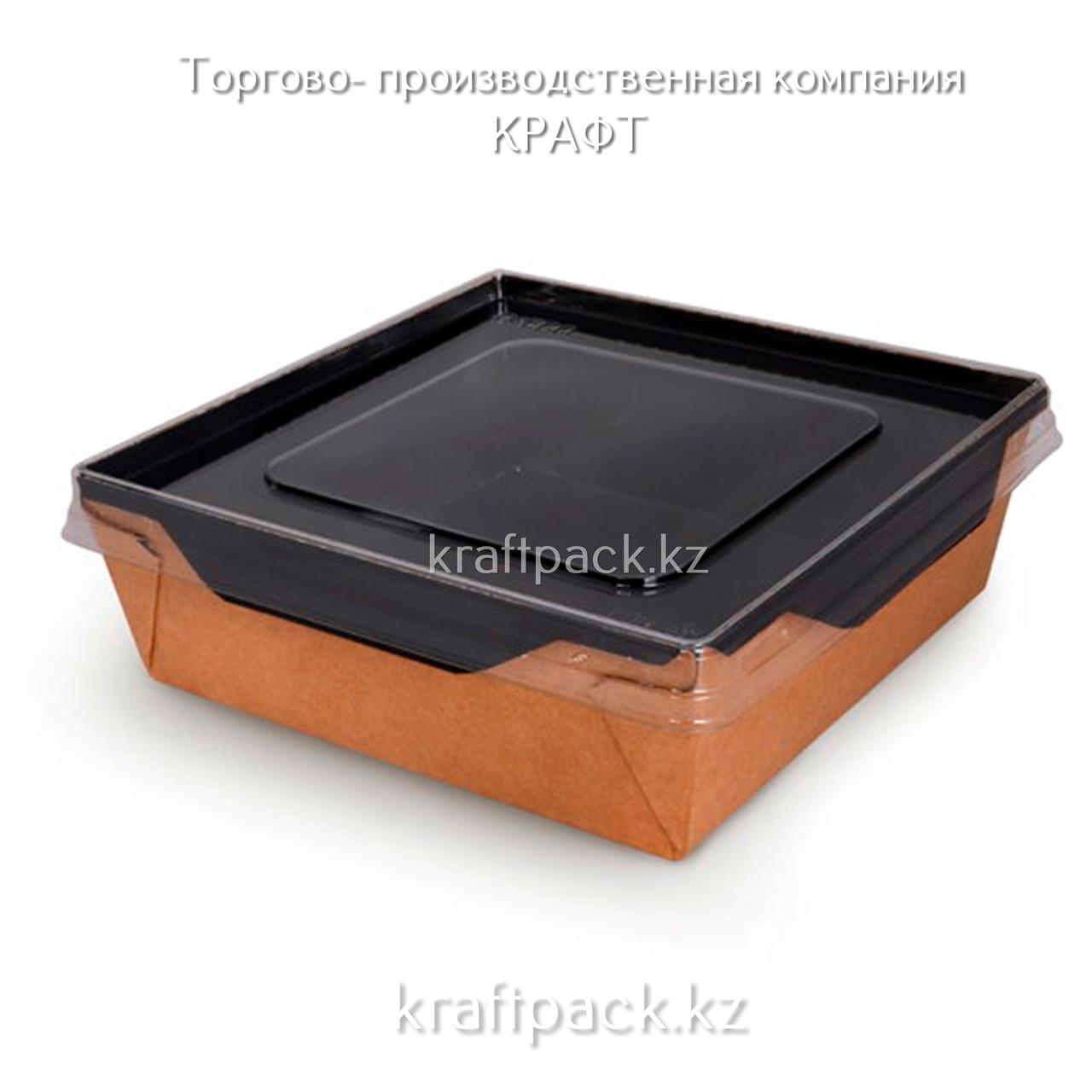 Контейнер, салатник с прозрачной крышкой Black Edition 1200мл 145*145*65 DoEco (50/150)