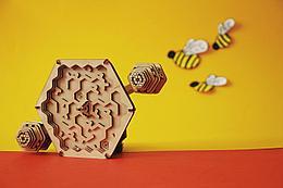 """Uniwood Деревянный конструктор-головоломка """"Лабиринт"""" Пчёлы и мёд"""