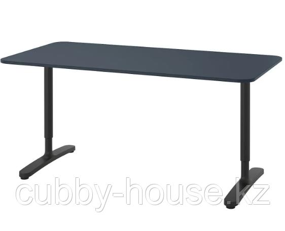 БЕКАНТ Письменный стол, линолеум синий, черный, 160x80 см