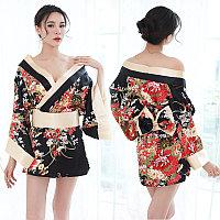 "Халат - кимоно ""Гейша"", размер 42-46 (S-L), цвет чёрный"