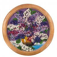 """Картина с рисунком из камня """"Сирень в горшке"""" на тарелке 40 см из дерева"""