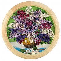 """Картина с рисунком из камня """"Натюрморт сирень в вазе"""" на тарелке 40см из дерева"""