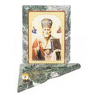 Икона с подсвечником Николай Чудотворец средняя из змеевика 12х12х13 см