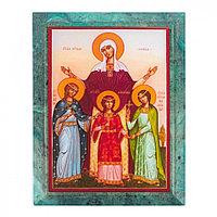 Икона настенная Вера, Надежда, Любовь и мать их София змеевик 14х18х1,2 см