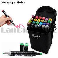 Набор маркеров художественных двухсторонних для скетчинга на спиртовой основе Touch с чехлом 24 шт