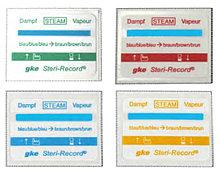 Трехстрочная этикетка с индикатором паровой стерилизации, желтый, зеленый, синий, красный C-S-L-1-DA-G