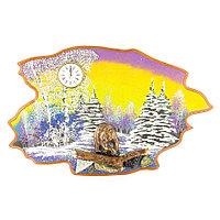 """Часы с картиной """"Медведь зима"""" 50х32 см каменная крошка"""