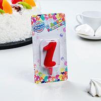 """Свеча для торта цифра """"Овал"""" """"1"""", красная"""