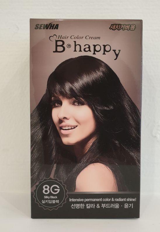 Интенсивная крем-краска для волос с эффектом ламинирования Тон 8G (шелковистый черный) B-Happy Hair Color Crea