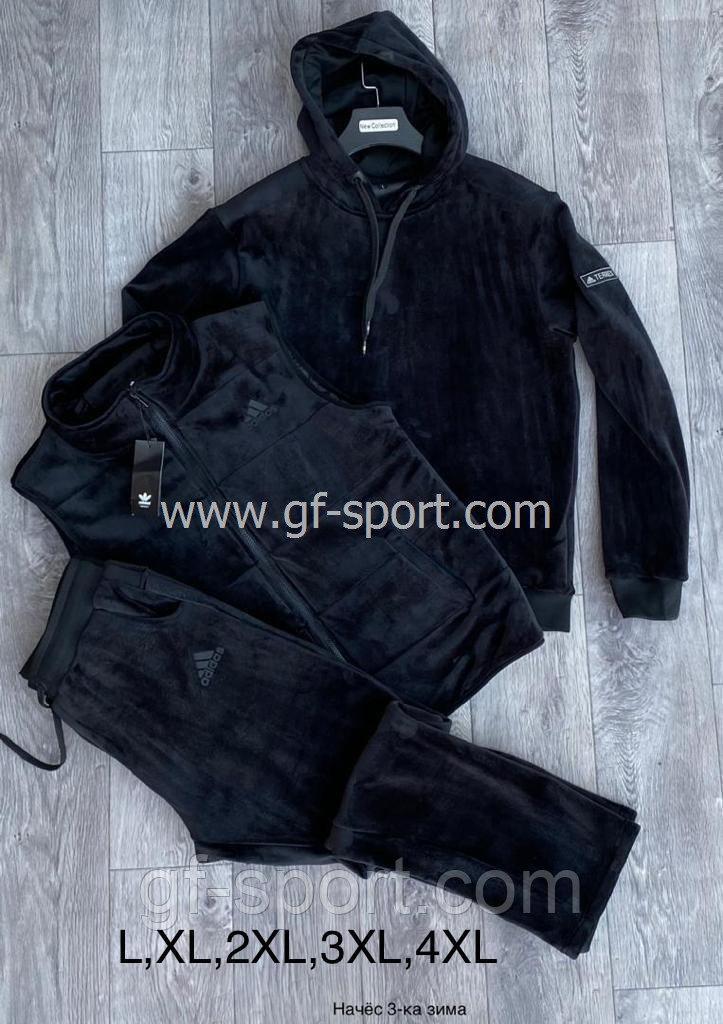 Велюровый зимний костюм мужской Adidas 3 в 1