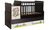 Детская кровать-трансформер Фея 1100 Зайчонок венге-бежевый