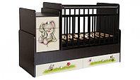 Кроватка трансформер Фея 1100 Зайчонок с матрасом, фото 1