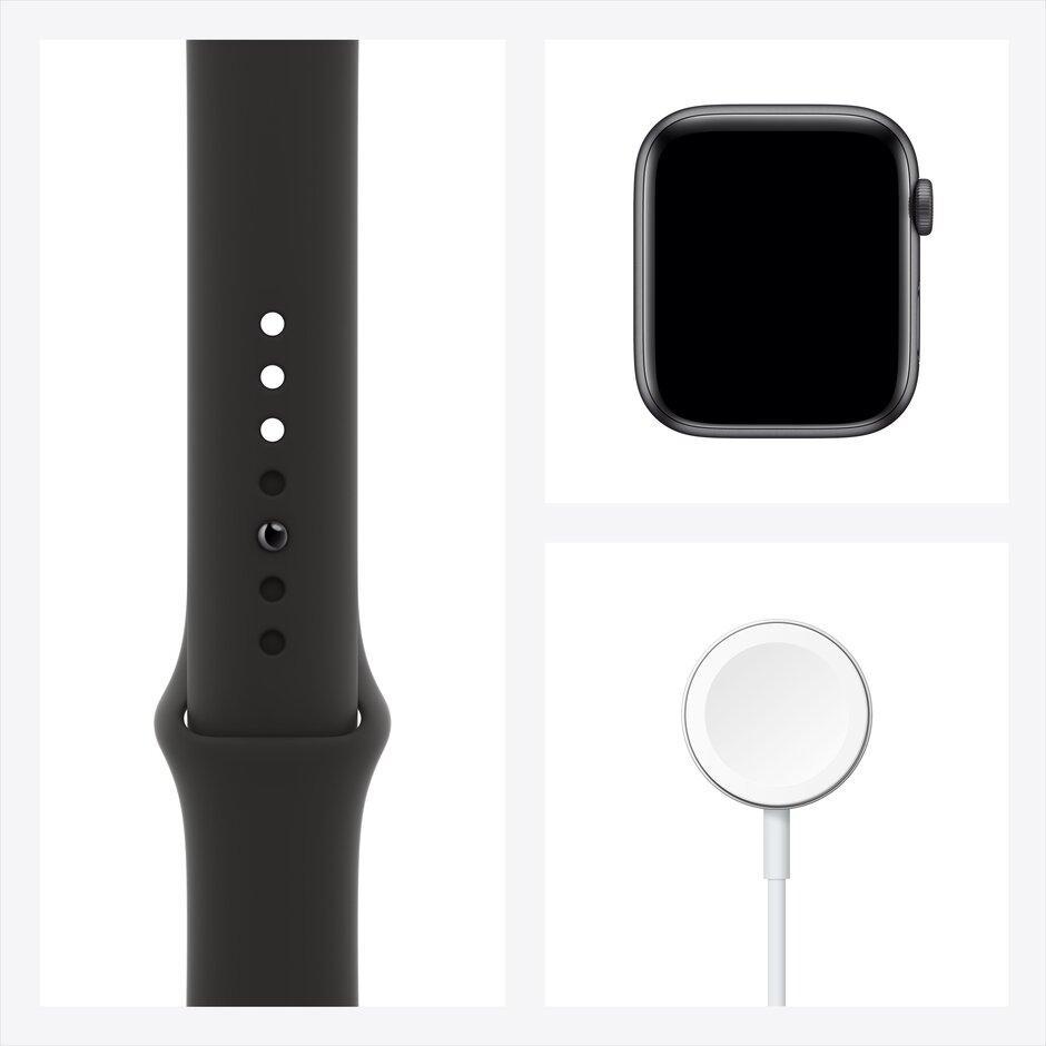 Смарт-часы Apple Watch SE 44mm Gold, Silver, Black Sport Band Черный, Серебристый, золотой - фото 2
