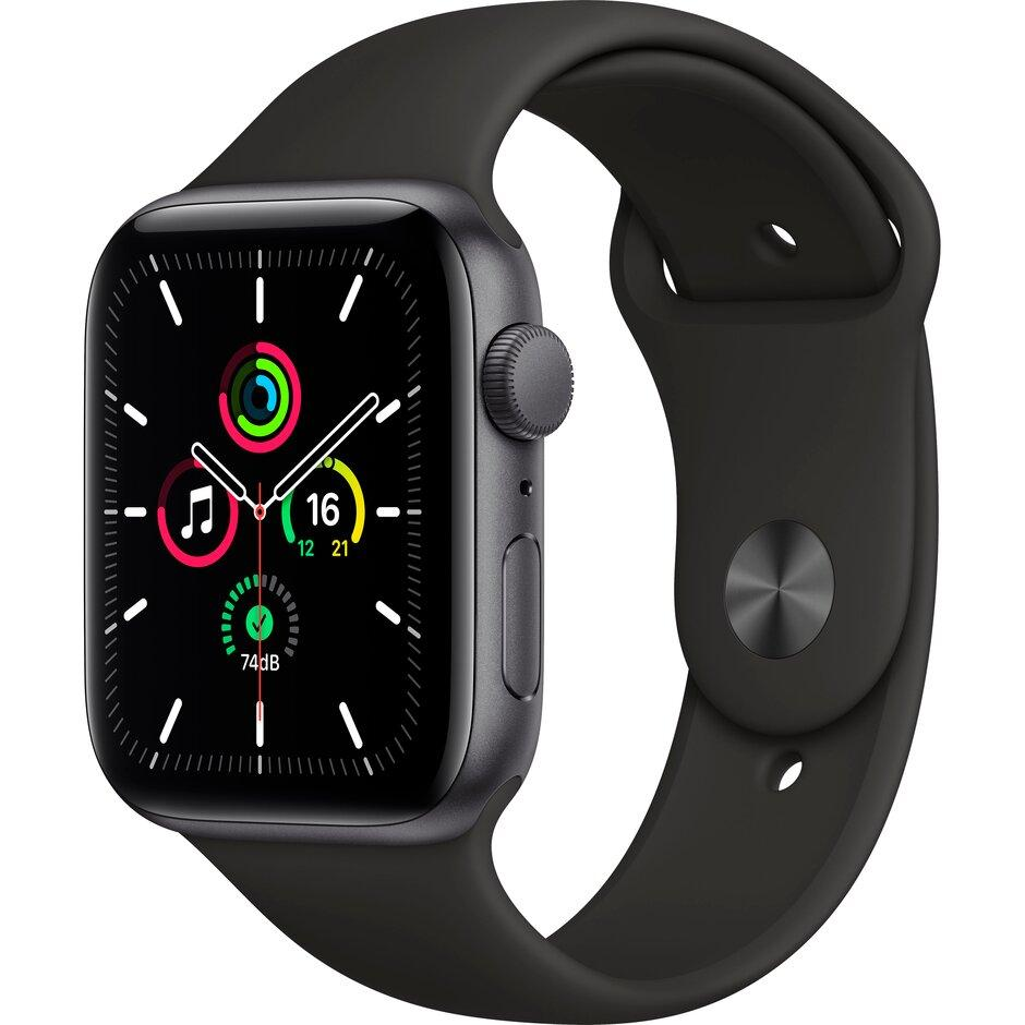 Смарт-часы Apple Watch SE 44mm Gold, Silver, Black Sport Band Черный, Серебристый, золотой - фото 1