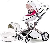 Детская коляска 2в1 Hot Mom F22 белый-красный, экокожа