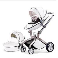 Детская коляска 2в1 Hot Mom F22 белый-черный, экокожа