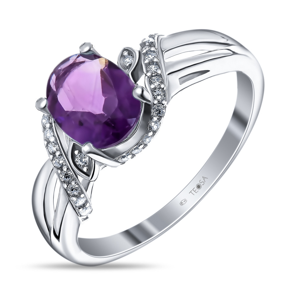 Кольцо из серебра с натуральным аметистом и фианитом