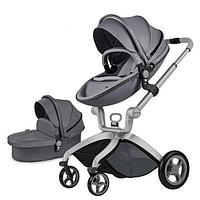 Детская коляска 2в1 Hot Mom F22 Dark Grey, экокожа