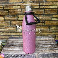 Термос походный с декором. Материал: Металл/Пластик. Цвет: Розовый. Объем: 1.5л.