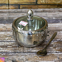 Сахарница с ложечкой (малая). Материал: Металл/Стекло. Цвет: Серебристый/Прозрачный.