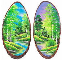 """Панно на срезе дерева """"Лето"""" вертикальное 65-70 см каменная крошка"""