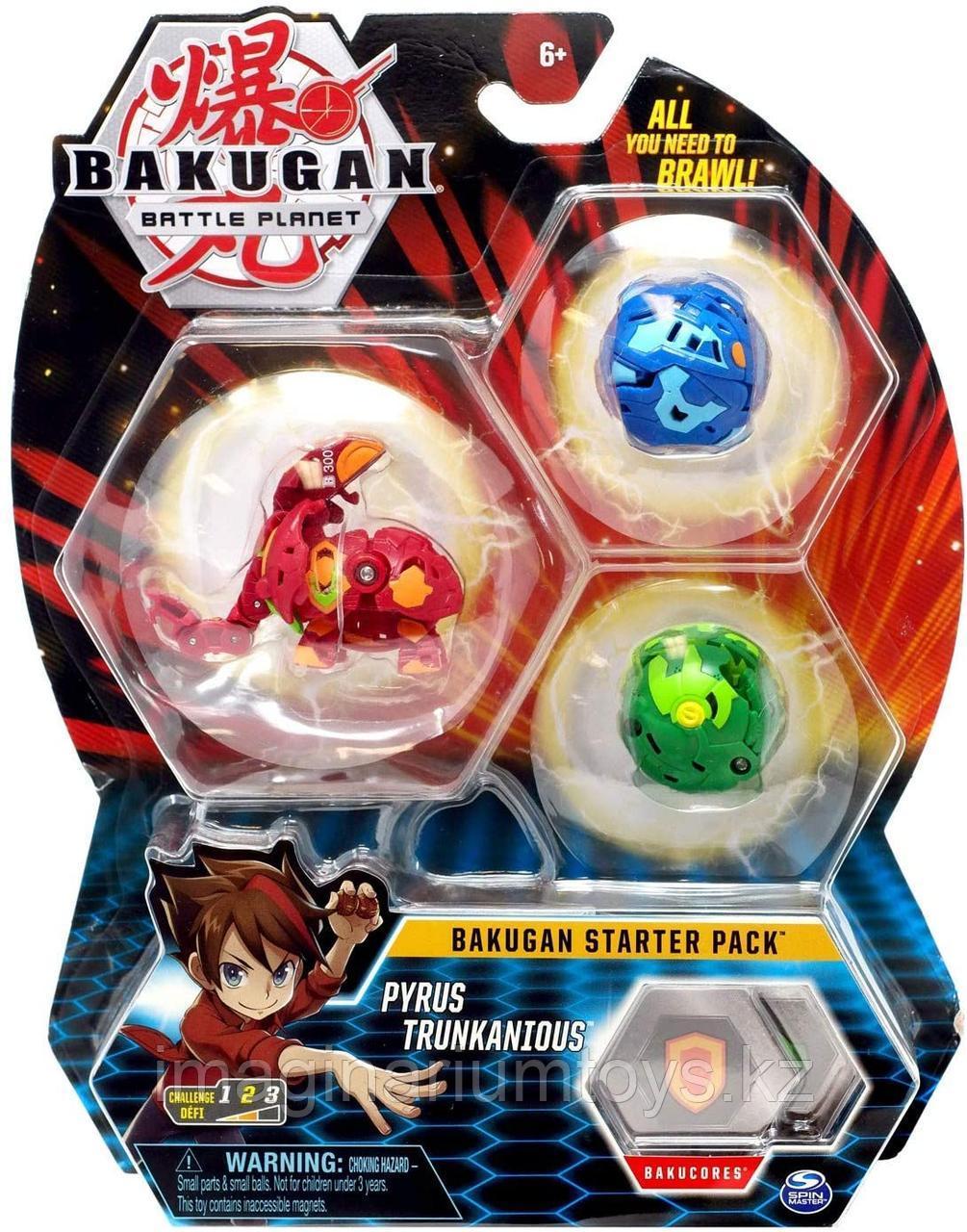 Бакуганы стартовый набор 3 фигурки-трансформера Bakugan