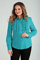 Женская осенняя из вискозы бирюзовая нарядная большого размера блуза Таир-Гранд 6227 бирюза 50р.