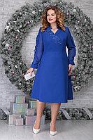 Женское осеннее шифоновое синее нарядное большого размера платье Ninele 5808 василек 56р.