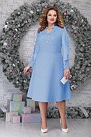 Женское осеннее шифоновое голубое нарядное большого размера платье Ninele 5808 голубой 56р.