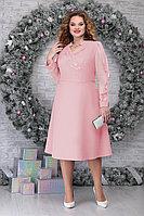 Женское осеннее шифоновое розовое нарядное большого размера платье Ninele 5808 пудра 56р.