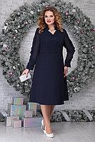 Женское осеннее шифоновое синее нарядное большого размера платье Ninele 5808 синий 56р.
