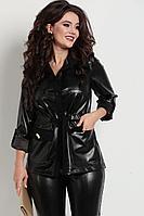 Женский осенний кожаный черный большого размера жакет Solomeya Lux 753 черный 48р.