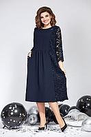 Женское осеннее кружевное синее нарядное большого размера платье Милора-стиль 825 52р.