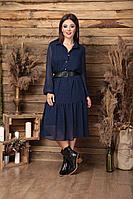 Женское осеннее шифоновое синее большого размера платье Anastasia 488 синий 48р.