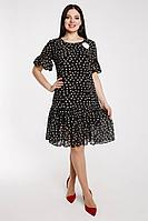 Женское осеннее шифоновое черное нарядное большого размера платье Art Oliya 264 черный 50р.