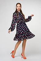 Женское осеннее шифоновое синее нарядное платье Art Oliya 281 синий 44р.