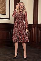 Женское осеннее шифоновое большого размера платье Bazalini 3720 48р.