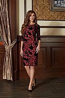 Женское осеннее шифоновое большого размера платье Bazalini 3753 красный 48р.