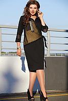 Женское осеннее трикотажное черное нарядное большого размера платье Vittoria Queen 11703 черный 54р.