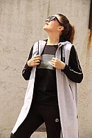 Женский осенний трикотажный серый спортивный большого размера спортивный костюм Runella 1374 46р.